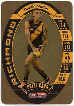 2017 AFL Team Coach Prize Cards