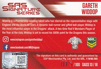 SAS Signature Series back of the card