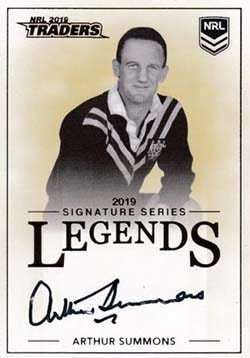 L13 Arthur Summons 2019 NRL Traders Legend Signatures