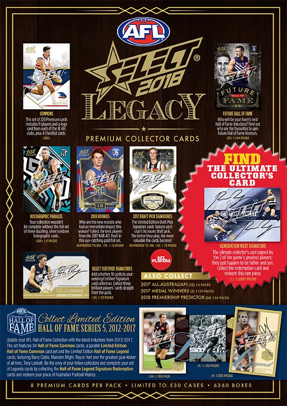 2018 Select AFL Legacy Trading Cards